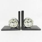 Casa Padrino Bücherstützen Set Uhren Messing / Aluminium vernickelt - Bücherstütze - Book End Buchstützen