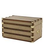 Casa Padrino Luxus Koffer Schrank Truhe Vintage Canvas / Leder mit Messing Beschlägen - Art Deco Barock Jugendstil Kofferschrank
