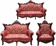 Casa Padrino Barock Wohnzimmer Set Bordeaux Muster / Braunrot - 3-er Sofa + 2-er Sofa + 1 Sessel - Barock Möbel