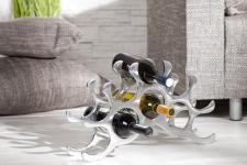 Designer Weinregal für 10 Flaschen aus poliertem Aluminium Höhe: 28 cm, Breite: 48 cm, Tiefe: 11cm - Flaschenhalter, Flaschenablage