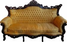 Casa Padrino Barock 3er Sofa Gold Muster / Mahagoni Braun - Wohnzimmer Möbel Couch Lounge