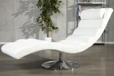 Designer Liege Relax Sessel Weiß / Chrom von Casa Padrino