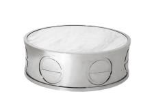 Casa Padrino Luxus Art Deco Designer Couchtisch mit Marmorplatte 100 x H. 32 cm - Wohnzimmer Salon Tisch - Limited Edition