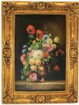 Handgemaltes Barock Öl Gemälde Blumen Stilleben Gold Prunk Rahmen 130 x 100 x 10 cm - Massives Material