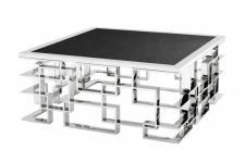 Casa Padrino Art Deco Luxus Couchtisch mit Granitplatte 100 x 100 x H. 45 cm - Wohnzimmer Salon Tisch - Hotel Möbel
