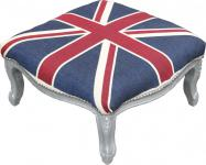 Casa Padrino Barock XXL Fußhocker Mod3 Union Jack / Silber - Hocker Englische Flagge - Antik Stil England
