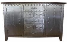 Casa Padrino Art Deco Designer Flieger Kommode 140 x 45 x H. 90 cm - Aluminium Kommode