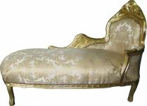 Casa Padrino Barock Chaiselongue Creme Gold Muster / Gold - Recamiere Liege Barock Möbel
