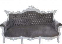 Casa Padrino Barock 3-er Sofa Master Grau / Weiß mit Bling Bling Glitzersteinen - Wohnzimmer Möbel Couch Lounge