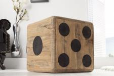 Casa Padrino Designer Sitzhocker - Beistelltisch Würfel aus Massivholz - Cube Hocker