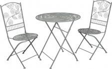 Jugendstil Gartenmöbel Set - Bistro Set - 1 Tisch mit 2 Stühlen Model Palermo - Antikweiss