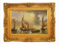 Handgemaltes Barock Öl Gemälde Schiffe 2 Gold Prunk Rahmen 130 x 100 x 10 cm - Massives Material