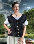 Jacquelyn Sleeveless Piraten Mittelalter Bluse - Black