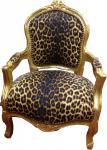 Casa Padrino Barock Kinder Stuhl Leopard/Gold - Sessel - Armlehnstuhl