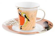 """Handgearbeitete Kaffeetasse aus Porzellan mit einem Motiv von T. Lautrec """" Jane Avril"""" 0, 21 Ltr. - feinste Qualität aus der Tettau Porzellanfabrik - wunderschöne Tasse"""