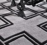 Wunderschöner Luxus Teppich aus 100% Neuseeland-Wolle mit Mäander Muster, Grau/Schwarz, Samtweich 300 x 300 cm - Hochwertige Qualität
