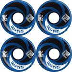 Flying Wheels Longboard Profi Wheels Drifters 65mm / 86a Blau abgerundet + angeraute Lauffläche - Longboard Cruiser Wheel Set (4 Rollen) Slide Rollen