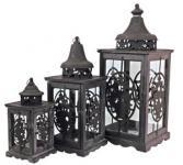 Wunderschöne Barock Laterne aus Holz, antik-look old black 3-er Set - Kerzenleuchter Antik