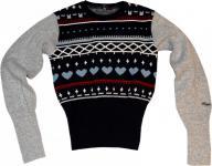 Warmer Ragwear Damen Skateboard Winter Pullover Kara Navy/Grey/Red - Wolle