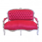 Casa Padrino Barock Kinder Sitzbank Pink / Silber Antik Stil Kinder Sofa