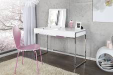 Casa Padrino Designer Schminktisch mit Spiegel Weiss - Damen Schreibtisch - Sekretär Konsole - Damen Konsolentisch