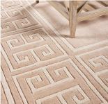 Wunderschöner Luxus Teppich aus 100% Neuseeland-Wolle mit Mäander Muster, Beige, Samtweich 300 x 400 cm - Hochwertige Qualität