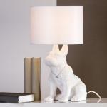 Designer Hockerleuchte für Hundeliebhaber aus Keramik Weiß Höhe 45 cm - Leuchte Lampe