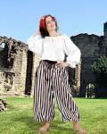 John Silver Striped Piraten Hose - Black - White