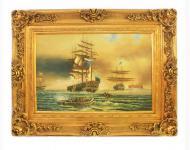 Handgemaltes Barock Öl Gemälde Schiffe 3 Gold Prunk Rahmen 130 x 100 x 10 cm - Massives Material