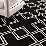 Wunderschöner Luxus Teppich von Casa Padrino aus 100% Neuseeland-Wolle, Schwarz/Weiss Kästchen Muster, Samtweich - Hochwertige Qualität