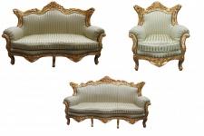 Casa Padrino Barock Wohnzimmer Set Jadegrün/ Gold - 3er Sofa+2er Sofa + 1 Sessel