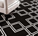 Wunderschöner Luxus Teppich aus 100% Neuseeland-Wolle, Schwarz/Weiss, Samtweich 170 x 240 cm - Hochwertige Qualität