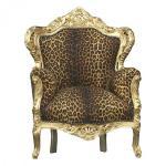 """Casa Padrino Barock Sessel """" King"""" Leopard/Gold"""