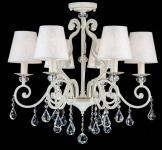 Casa Padrino Barock Kristall Decken Kronleuchter Weiß Gold 63 x H 58 cm Antik Stil - Möbel Lüster Leuchter Hängeleuchte Hängelampe