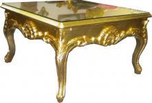 Casa Padrino Barock Couchtisch 70 x70 cm Gold - Couch Tisch - Wohnzimmer Tisch - Beistell Tisch - Möbel