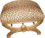 Casa Padrino Barock Sitzhocker / Kreuzhocker Leopard/Gold