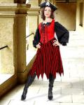 Alvilda Striped Skirt red/black - Medieval Skirt Pirate