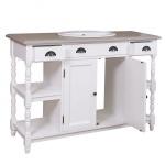 Casa Padrino Landhaus Stil Waschschrank Waschtisch inkl 1 Waschbecken Weiß / Cremefarbene Platte mit Schubladen - Bad Schrank