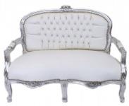 Casa Padrino Barock Kinder Sitzbank Weiß Lederoptik / Silber Antik Stil Kinder Sofa