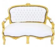 Casa Padrino Barock Kinder Sitzbank Weiß Lederoptik / Gold Antik Stil Kinder Sofa