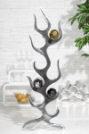 Designer Weinregal für 9 Flaschen poliertes Aluminium Höhe: 93 cm, Breite: 27 cm, Tiefe: 14 cm - Flaschenhalter, Flaschenablage Flammen Flames