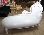 Casa Padrino Barock Chaiselongue Weiß/Weiß Lederoptik - Recamiere Liege Lounge