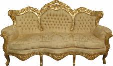 Casa Padrino Barock Sofa King Creme Barock Muster / Gold Mod2 - Möbel Lounge Couch