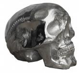 Casa Padrino Designer Skull Mod1S silber Höhe 13 cm, Breite 9 cm, Tiefe 16, 5 cm, Totenkopf - edle Skulptur aus Aluminium vernickelt