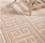 Wunderschöner Casa Padrino Luxus Teppich aus 100% Neuseeland-Wolle mit Mäander Muster, Beige, Samtweich 240 x 170 cm - Hochwertige Qualität