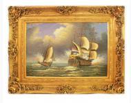 Handgemaltes Barock Öl Gemälde Schiffe Gold Prunk Rahmen 130 x 100 x 10 cm - Massives Material