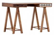 Casa Padrino Schreibtisch Sekretär Mangoholz verziert mit Fell und Mosaik 120 cm - Vintage Design