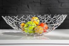 Designer Obstschale Structure silber aus silbernem Metall Höhe 15 cm, Durchmesser 45 cm - Schale, Obstkorb, Deko Schale