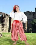 John Silver Striped Piraten Hose - Red - White