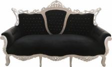 Casa Padrino Barock 3-er Sofa Master Schwarz / Weiß mit Bling Bling Glitzersteinen - Wohnzimmer Möbel Couch Lounge - Limited Edition